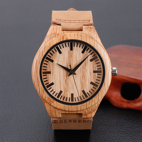 Simple Wood Watches Men's Minimalist Design Wrist Watch Original Wooden Bamboo Watch Men