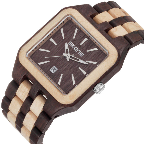 Skone Brand Square Wood Watch Male Business Quartz Watches Luxury Brand Auto Date Wooden Men's Wristwatch reloj hombre