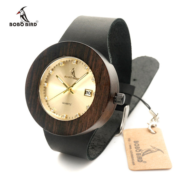 Women Wooden Watches with Genuine Leather Strap Calendar Display Wood Watch