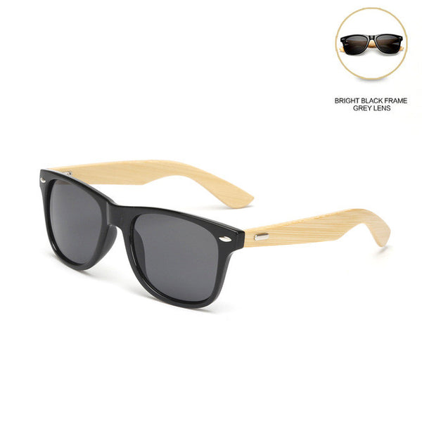 JIANGTUN Vintage Bamboo Leg Men , Women Classic Brand Designer UV400 Wooden Sunglasses Colorful Coating Mirror Points