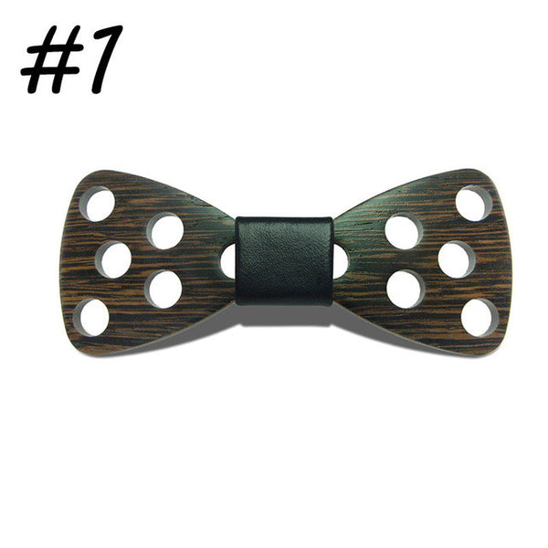 Riglook Handmade Big Hollow Circle Wooden Bow Ties