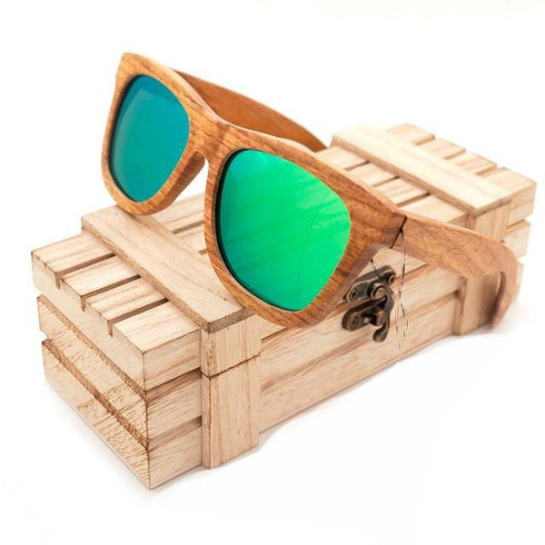 Model No. MHM02 - Mirrored Lenses All-Natural Wood Sunglasses for Men with Storage Case