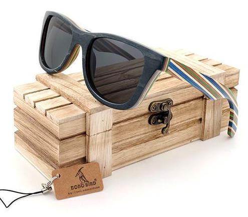 Wooden Sunglasses Striped in Style - WS10020