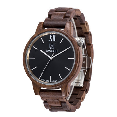 Dark Ebony Wooden Watches With High Quality Japan Quartz Movement Analog Dial.