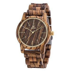 Zebra Wood Watch For Men in Coffee Color MIYOTA Quartz Movement Analog Wristwatch