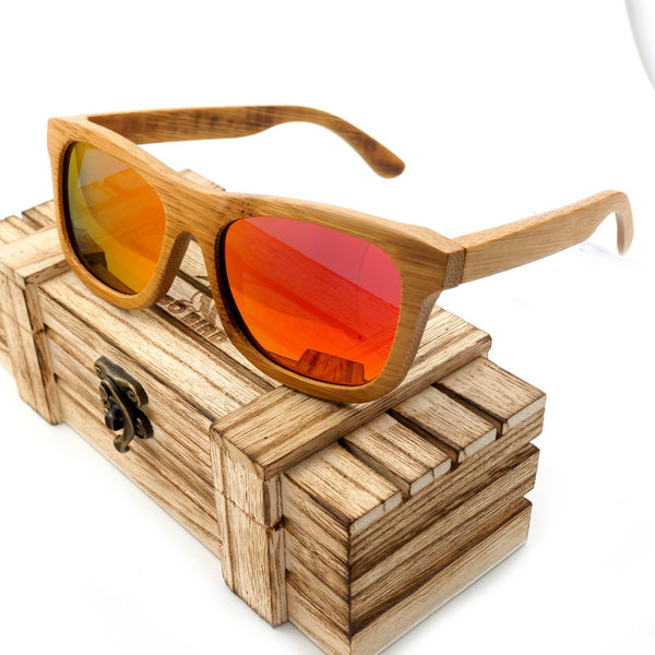 Style No. WS103 - All-Natural Bamboo Wood Sunglasses with Golden Lenses and Case