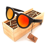 Wood Round Sunglasses Polarized with Mirror Lens - WS10001