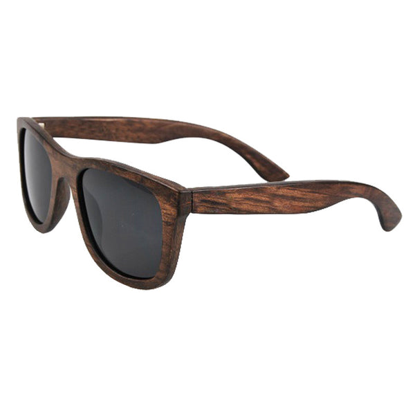 Handmade Retro Vintage Wooden Sunglasses with Black Polarized Lenses