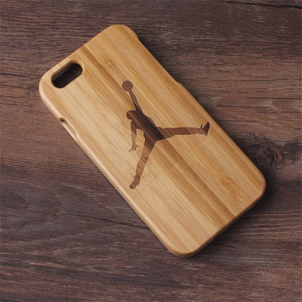 iPhone 5, 5S, SE, 6, 6S, 6 Plus, 6S Plus Bamboo Wood Case with Jordan Design