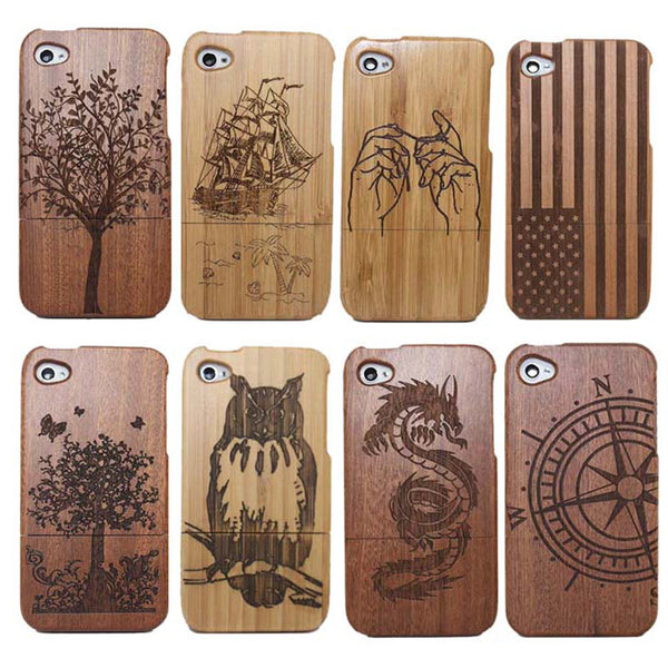 YRFF Wooden Bamboo iPhone 4, 4G, 4S Sculptured Case