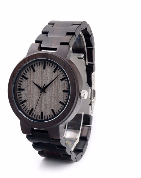 Wood Watches For Mens - Quartz Watches With Gift Box C30 Ebony