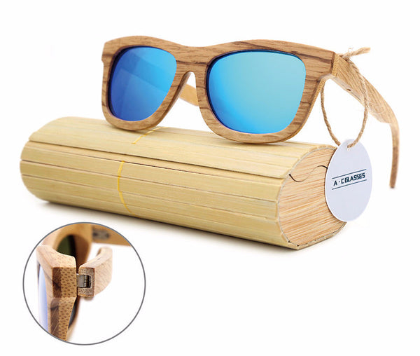 Style No. WS10033 - Bamboo and Wood Frame Sunglasses with Wood Storage Case