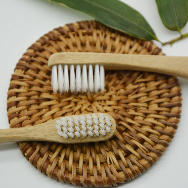 White Wooden Tooth brush Natural Bamboo Wood Great Deal 2pcs