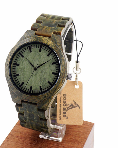 Green Sandal Wood Wrist Handcrafted Wooden Watches - W*G19