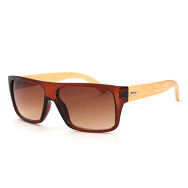 Style No. WS10027 - Square & Rectangular Bamboo Wood Arm Colored Lens Sunglasses