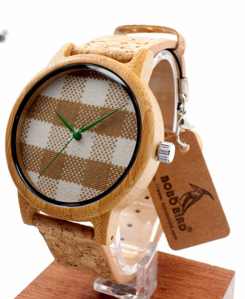 Wood Quartz Watches With Fabric Leather Strap for Unisex -WW1002