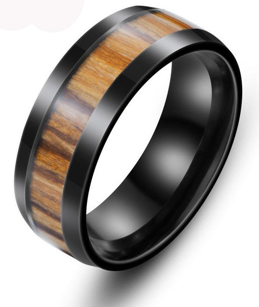 Style No. WR230 - Black Stainless Steel and Wood Ring for Men