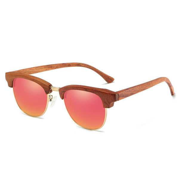 Half Wooden Frame Square Style Wood Sunglasses - WS10007