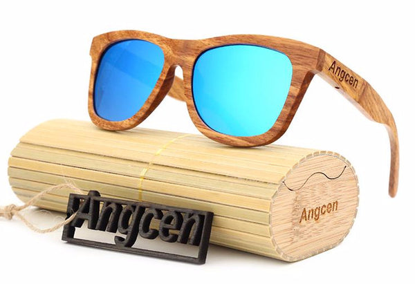 Style No. WS10062 - Angcen Bamboo Wood Framed Sunglasses with Polarized Lenses and Case