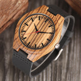 Style No. WW116 - Riglook Black Wooden Watch with Leather Strap