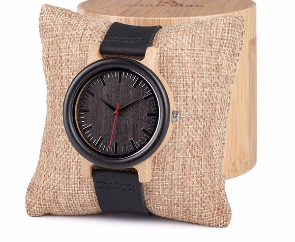 Style No. WW115 - Wooden Watch with Round Case and Leather Strap