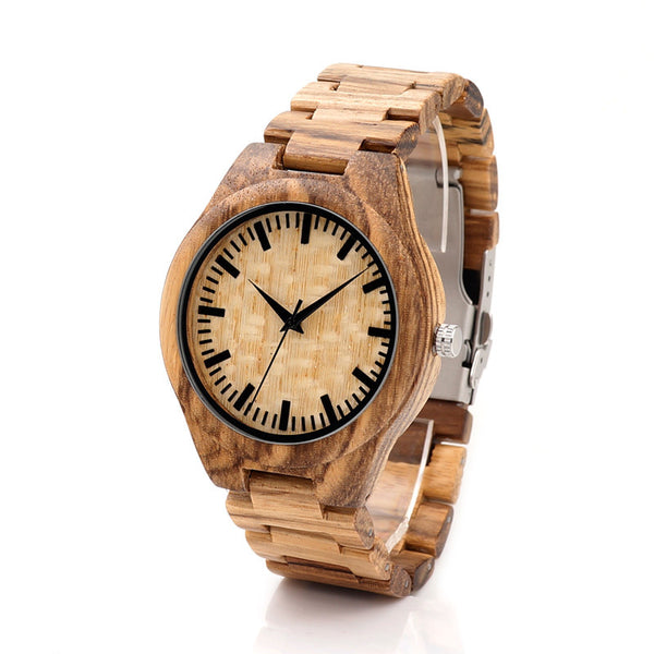 Style No. WR1008 - Men's All-Natural Bamboo Wooden Watch with Folding Clasp