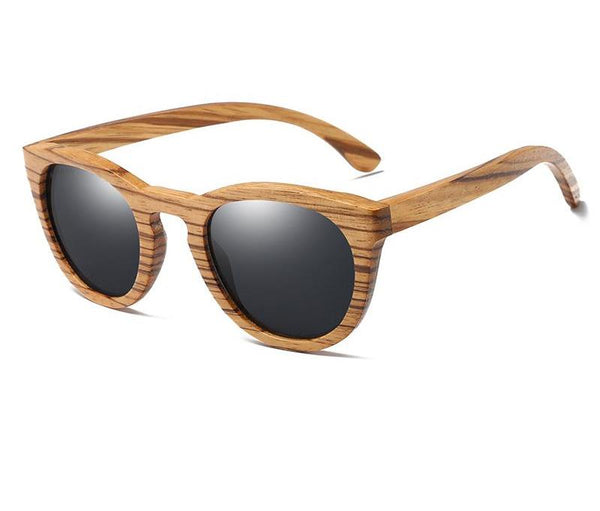 Style No. WS10076 - Zebra Wooden Rounded Sunglasses with Polarized Lenses
