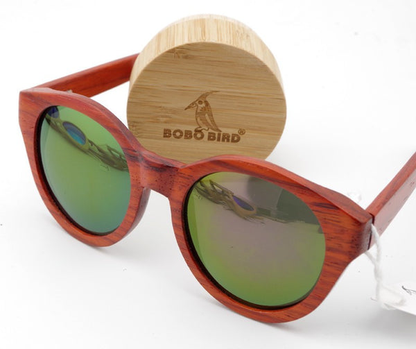 New Women's Sunglasses Red Wood Round Wood Over sized Sunglasses for Wooden