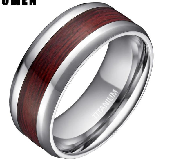 Style No. WR232 - Wood Grain and Titanium Ring