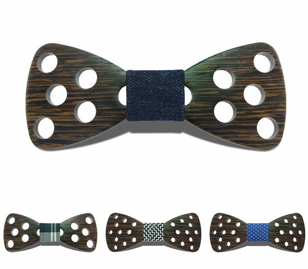 Handmade big hollow out circle wood bow ties -BT101
