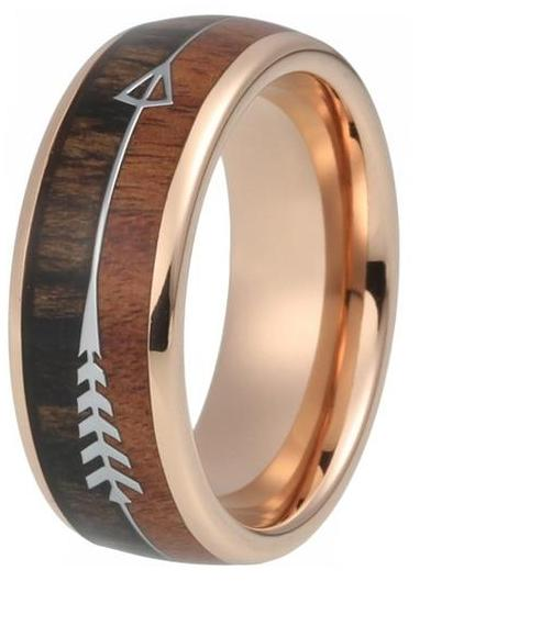 Style No. WR233 - Tungsten Steel and Wood Ring for Men