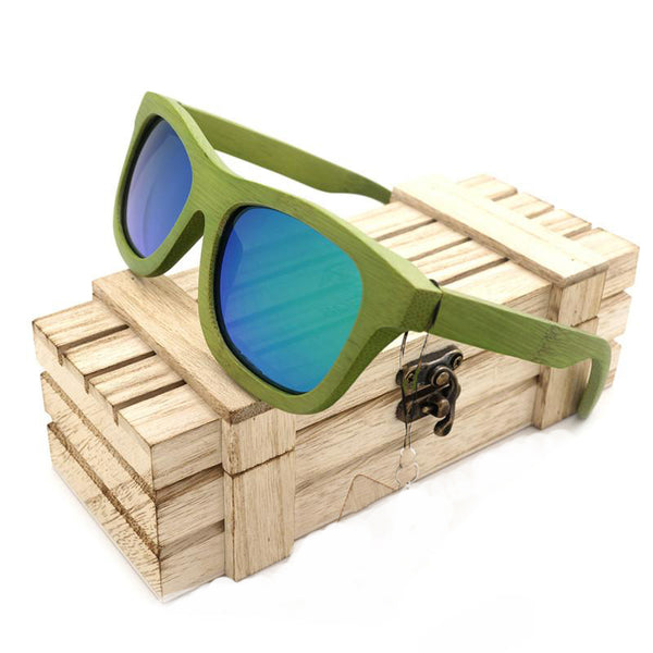 Wood Frame sunglasses with Blue Lense - WS101