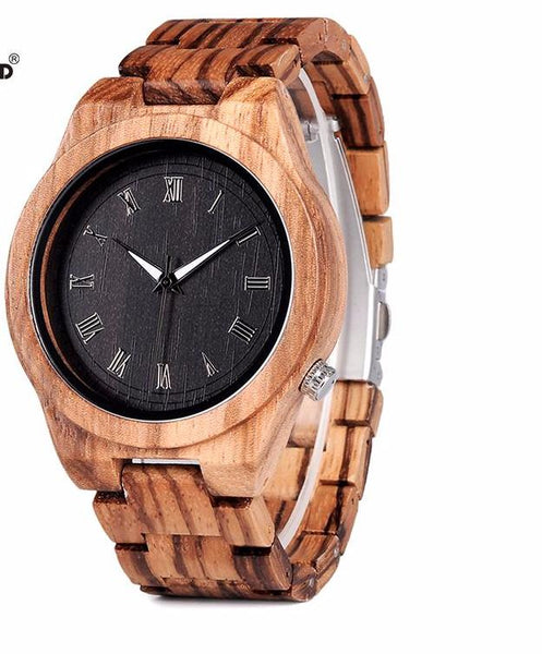 Zebra Wood Watch Quartz Movement - WR10014