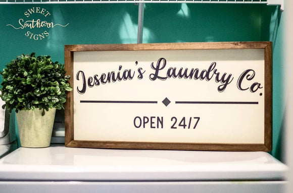 Personalized Laundry 24/7 Framed Farmhouse Sign