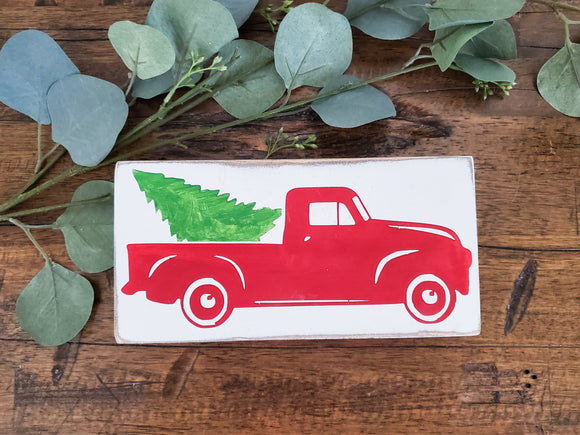 Wood Sign - Red Truck