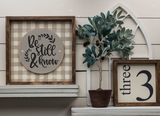Greige Plaid Interchangeable Sign
