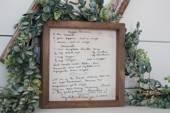 Handwritten Recipe Framed Farmhouse Sign