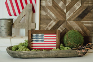 Patriotic Flag Mini Framed Farmhouse Sign