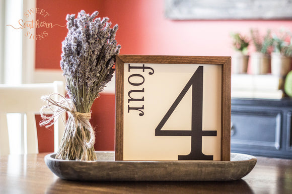 Number Framed Farmhouse Sign