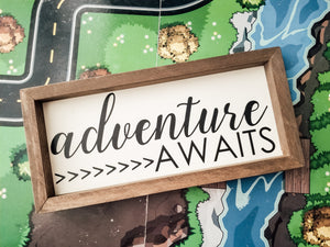 """Adventure Awaits"" Framed Farmhouse Sign"