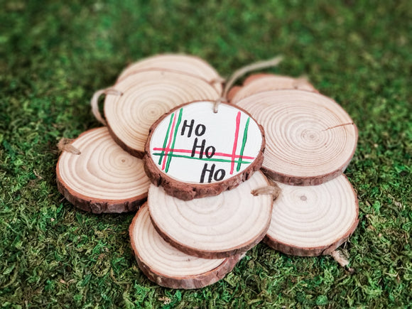 Ho Ho Ho- Plaid Wood Slice Ornament
