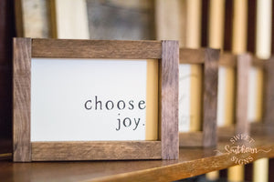 """Choose Joy"" Mini Framed Farmhouse Sign"