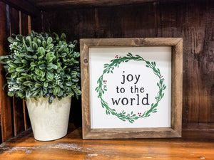 "READY TO SHIP ""Joy to the world"" Framed Farmhouse Sign"