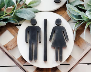 "3D 8"" Round Man & Woman Bathroom Icons"