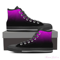 Women's High Top Canvas Shoe (Black) - Fade