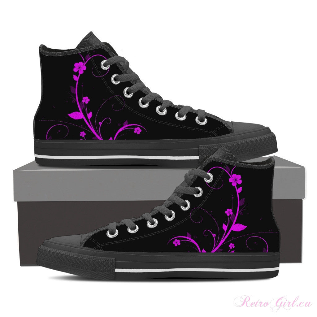 Women's High Top Canvas Shoe (Black) - Ribbon