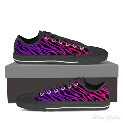 Women's Low Top Canvas Shoe (Black) - Pink Zebra