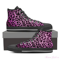 Women's High Top Canvas Shoe (Black) - Purple Cheetah