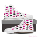 Women's High Top Canvas Shoe (White) - Fun Skulls