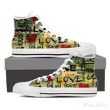Women's High Top Canvas Shoe (White) - Retro Love